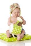 Zoete baby met gieter stock fotografie