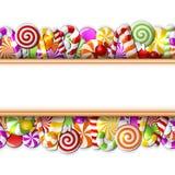 Zoete banner met kleurrijk suikergoed Royalty-vrije Stock Foto's
