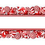 Zoete banner met rood en wit suikergoed Stock Fotografie