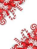 Zoete banner met wit en rood suikergoed Stock Foto