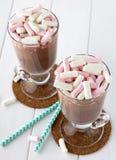 Zoete cacaodrank met marsmallows en stro Stock Foto