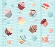 Zoete achtergrond met cakes Stock Fotografie
