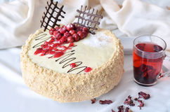 Zoete cake voor prettige ochtend Stock Fotografie