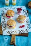 Zoete cakes in de vorm van een hamburger Royalty-vrije Stock Afbeeldingen