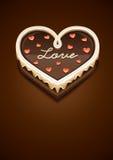 Zoete chocoladecake als hart met liefde Stock Afbeeldingen