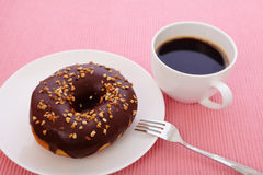 Zoete chocoladedoughnut Stock Afbeelding