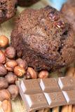 Zoete chocolademuffins royalty-vrije stock afbeeldingen