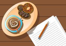 Zoete croissant en een kop van koffie op de achtergrond royalty-vrije illustratie
