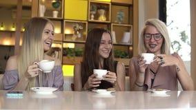 Zoete croissant en een kop van koffie op de achtergrond Drie vrouwelijke vrienden die en koffie babbelen drinken stock videobeelden