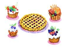 Zoete cupcakes en pastei op platen Royalty-vrije Stock Foto