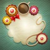 Zoete cupcakesachtergrond vector illustratie