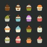 Zoete cupcakespictogrammen Royalty-vrije Stock Afbeeldingen