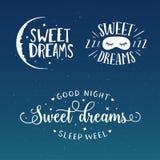 Zoete de typografiereeks van de dromen goede nacht Vector uitstekende illustratie stock illustratie