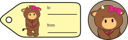 Zoete de valentijnskaartsticker van het stierenbeeldverhaal Stock Afbeelding