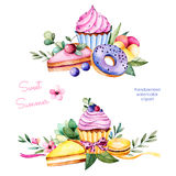 Zoete de zomerinzameling met donuts, bladeren, succulente installatie, takken, viooltjebloem, makarons, citroen en kersenkaastaar Royalty-vrije Stock Afbeeldingen