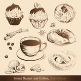 Zoete Dessert en Koffie Stock Afbeeldingen