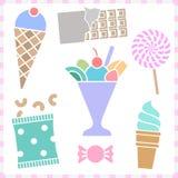 Zoete Dessertpictogrammen geplaatst voor om het even welk gebruik, Vectoreps10 groot Royalty-vrije Stock Foto