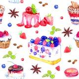 Zoete desserts met bessen, waterverf naadloos patroon Royalty-vrije Stock Foto