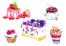 Zoete desserts met bessenreeks Royalty-vrije Stock Afbeeldingen