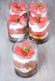 Zoete desserttiramisu met verse grapefruit Stock Afbeelding