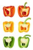 Zoete die groene paprika in de helft wordt gesneden Stock Fotografie