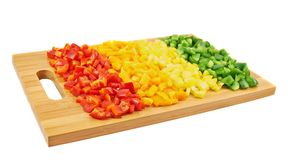 Zoete die groene paprika in stukken wordt gesneden Royalty-vrije Stock Foto's