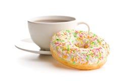 Zoete doughnut en koffiekop Stock Afbeelding