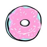 Zoete doughnut met roze suikerglazuur vector illustratie