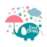 Zoete dromen kleurrijke hand getrokken vectorillustratie royalty-vrije illustratie