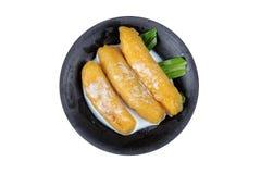 Zoete ei-banaan Pisang-mas in stroop bedekte kokosmelk Stock Foto