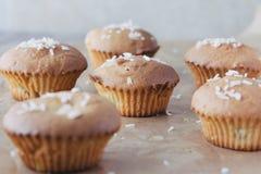 Zoete eigengemaakte cupcakes met ananas en kokosnotenvlokken Stock Fotografie