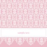 Zoete, elegante roze kantkaart of uitnodiging Royalty-vrije Stock Afbeelding