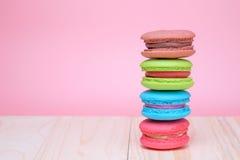 Zoete en kleurrijke Franse makarons Stock Afbeelding