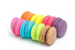Zoete en kleurrijke Franse makarons of macaron Stock Afbeelding