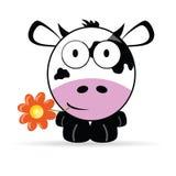 Zoete en leuke koe vectorillustratie Stock Foto's