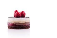 Zoete en smakelijke chocoladecake met de framboos Stock Foto