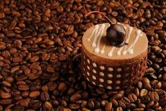 Zoete en smakelijke chocoladecake met kers Stock Foto's