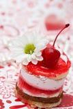 Zoete fruit rode cake met kers Stock Fotografie