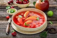 Zoete fruitsoep met kersen, appelen en munt stock fotografie