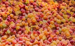 Zoete gekleurde gelei marmelade in een markt royalty-vrije stock afbeelding