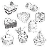 Zoete geplaatste cakes Stock Foto's