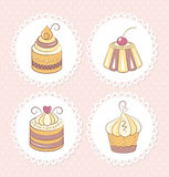 Zoete geplaatste cupcakes Stock Foto's