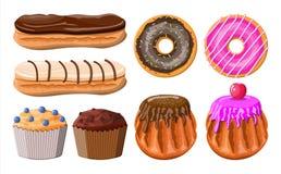 Zoete Geplaatste Desserts stock illustratie