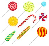 Zoete geplaatste lollys, kleurrijke snoepjes, de vectorillustratie van het suikersuikergoed royalty-vrije illustratie