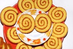Zoete gerolde koekjesogen stock afbeelding