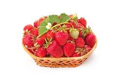 Zoete, geurige aardbeien in een rieten mand Royalty-vrije Stock Foto