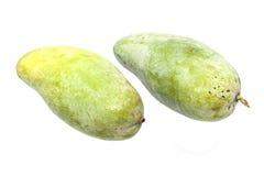Zoete groene die mango op witte achtergrond wordt geïsoleerd- Stock Fotografie