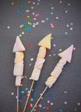 Zoete Heemst die Rocket Fireworks vormen Stock Foto's