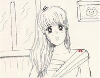 Zoete heldere meisjes anime stijl royalty-vrije stock fotografie