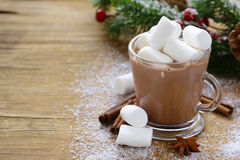 Zoete hete cacao met heemst, Kerstmisdrank Stock Afbeelding